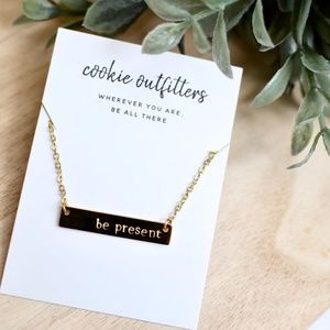 Be Present Gold Bar Necklace